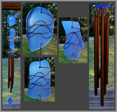wind chime, cobalt blue, glass, copper