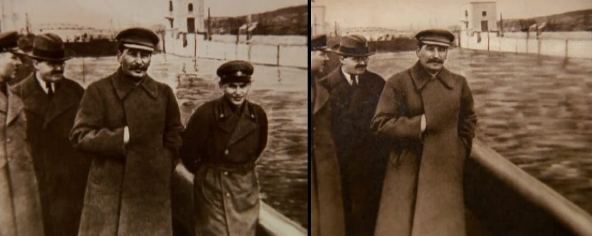 Joseph Stalin with Nikolai Yezhov photoshopped out