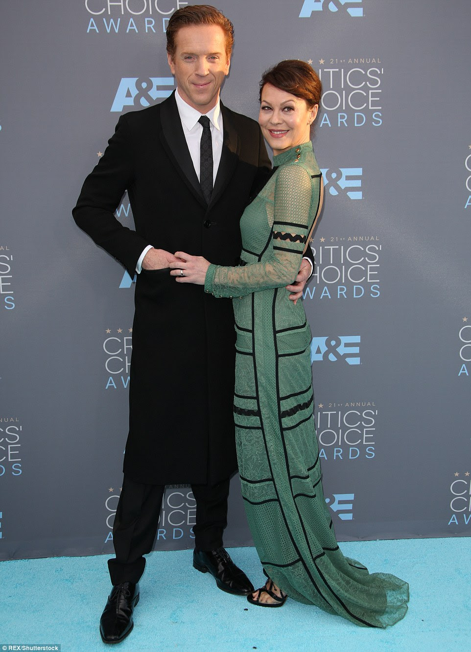 Proud husband: Damian Lewis was there for wife Helen McCrory, who was nominated for Best Supporting Actress In A Drama Series for Penny Dreadful