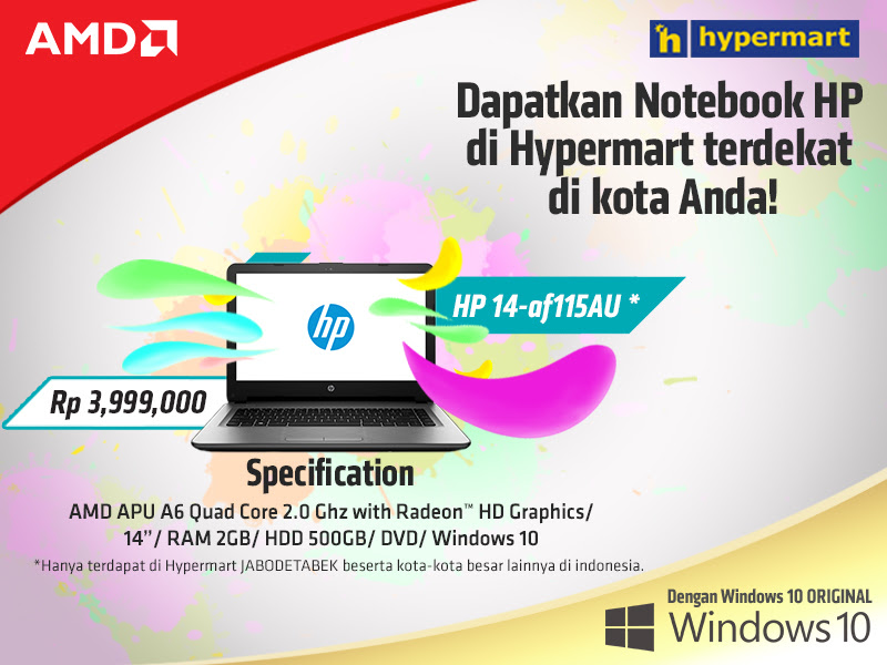 HANYA 3.9 Jutaan: Notebook HP 14-af115AU dengan AMD Quad Core GRATIS Windows 10 ORIGINAL!
