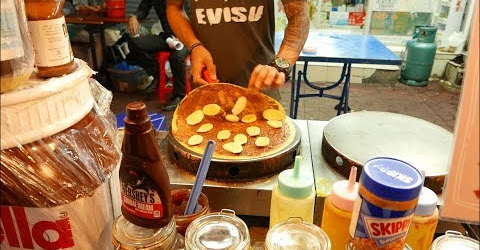 Pancake Nutella khổng lồ ở Thái Lan Ẩm thực đường phố Thái Lan