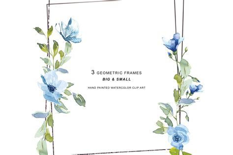 Silver Geometric Frames Watercolor Flowers Clipart