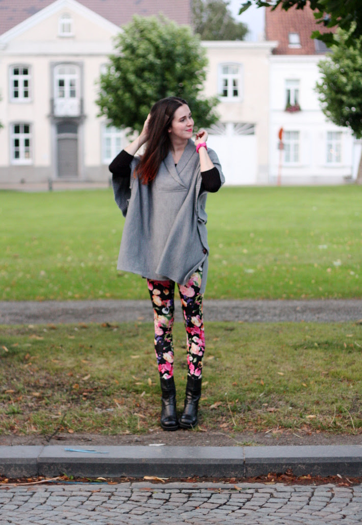 Cape, Floral Leggings, Windy Day