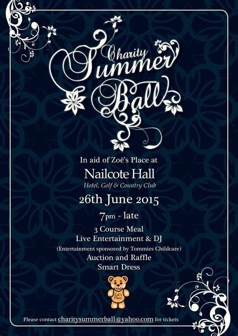 Zoe's place charity summer ball poster design   Twaites
