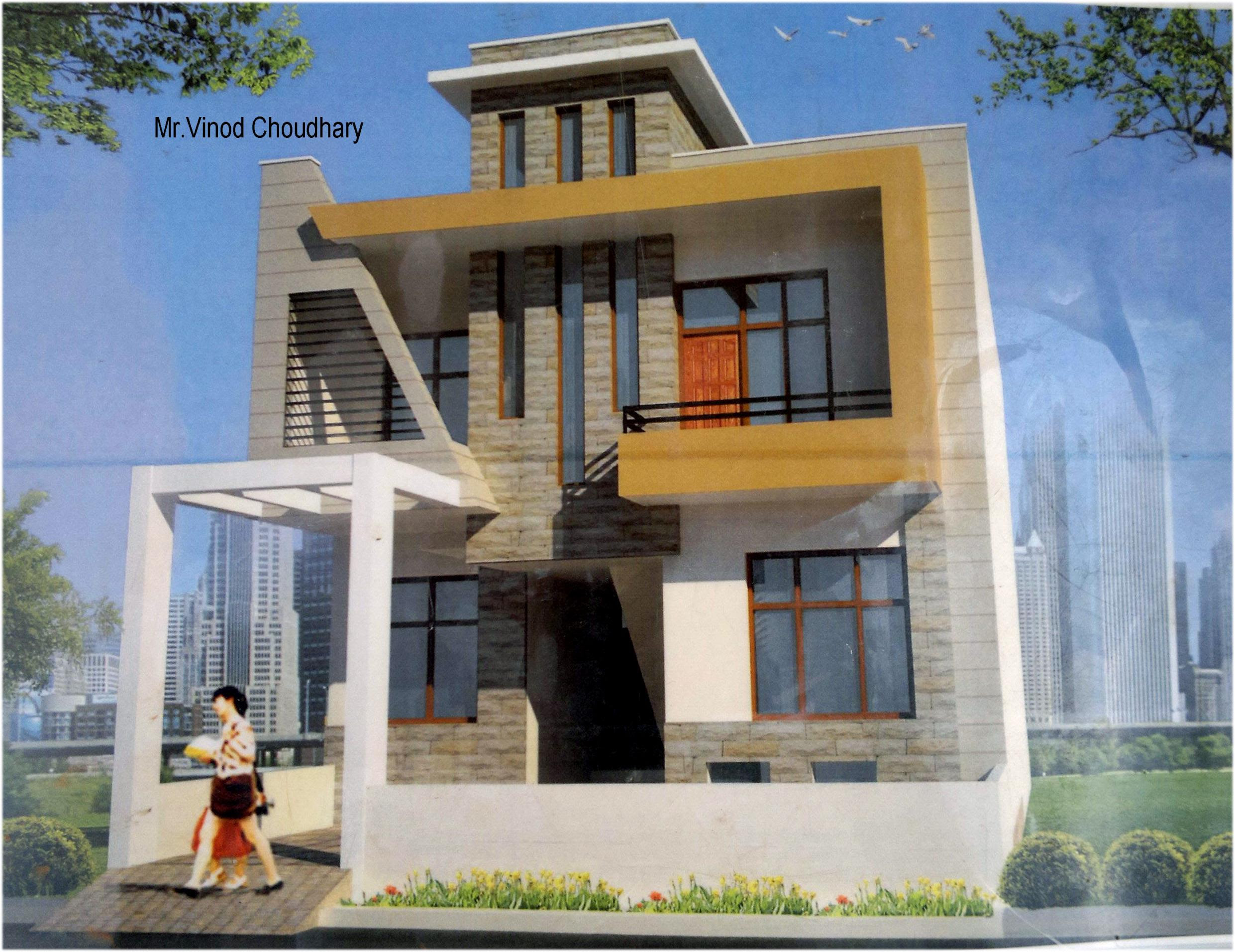 Modern Single family front-house-elevation design - GharExpert