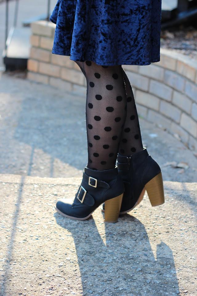 Blue Crushed Velvet, Polka Dot Tights, Ankle Boots