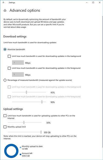 Opciones avanzadas para controlar el ancho de banda utilizado para las actualizaciones de Windows 10