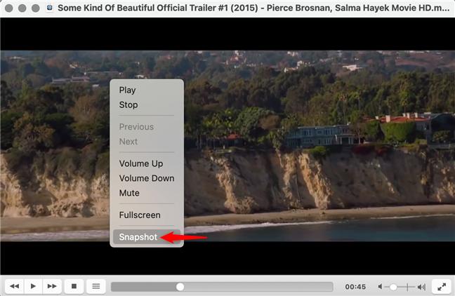 Captura de pantalla en VLC desde el menú contextual en macOS