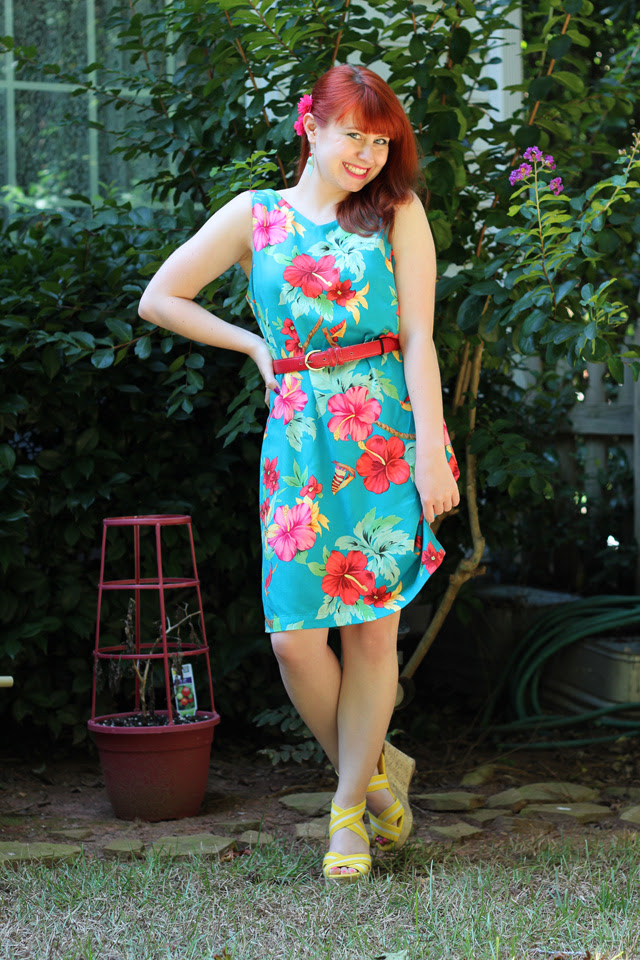 Hawaiian hibiscus dress and yellow wedges