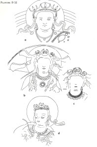 Reconstruction Drawings of Wall Painting Figures at Bamiyan, Afghanistan, 55 m Buddha Niche, 6th Century (Tarzi 1977)