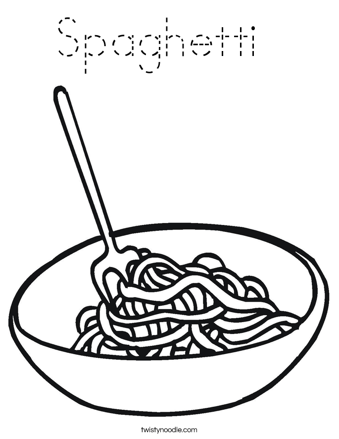 Spaghetti Coloring Page - Tracing - Twisty Noodle