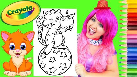 coloring kitty cat rainbow star ball coloring page