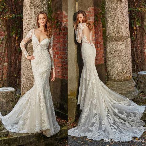 Eve Of Milady 2019 Mermaid Wedding Dresses Long Sleeves V
