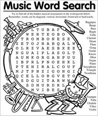 Printable Music Word Search Puzzles | Music Word Search | Older ...