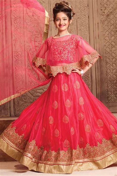 Buy Red Net Fancy Embroidered Lehenga for Girls Online