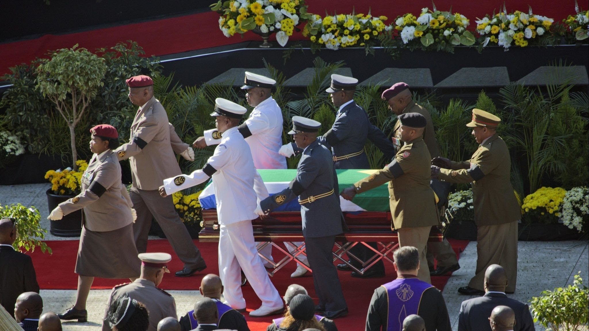 The flag draped coffin carrying the remains of anti-apartheid icon Winnie Madikizela-Mandela arrives
