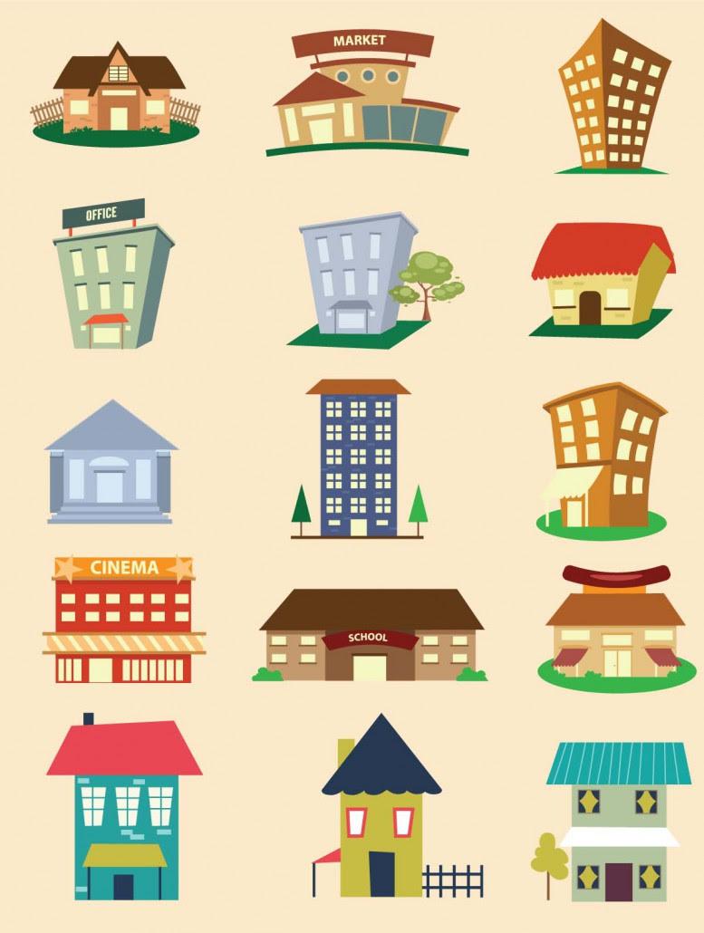 Buildings design elements vector | Free download