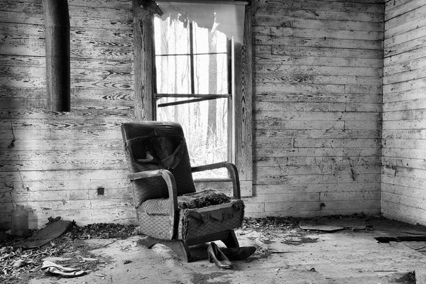 Black And White Photograph Of A Chair And Women S Shoes In An Abandoned House Keith Dotson Photography