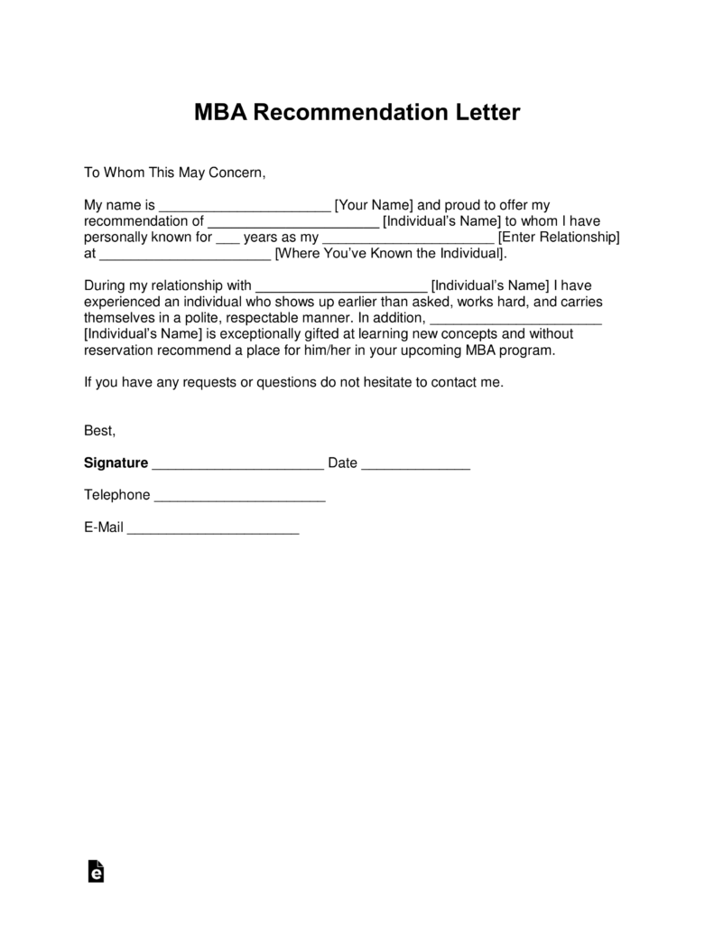Free Mba Letter Of Recommendation Template With Samples