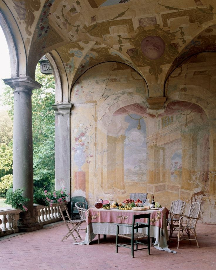 Seventeenth century frescoes adorn the loggia of the Villa Torrigiani outside Lucca.  #italy