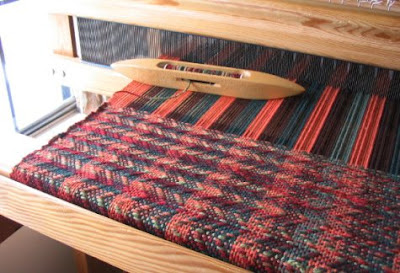 First several woven inches on my new loom.
