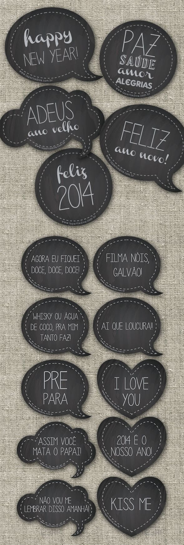 plaquinhas divertidas para ano novo, photobooth, happy new year, chalckboar, free download, 2014, new year - www.lapartiediva.com.br