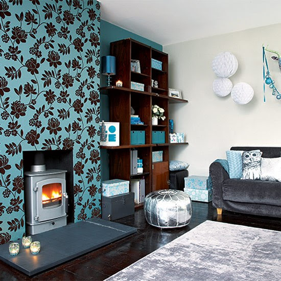 Be bold with pattern | Festive teal and silver living room ...