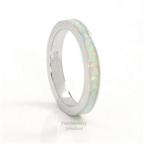 Silver Eternity Ring 3MM White Fire Opal Stackable 925