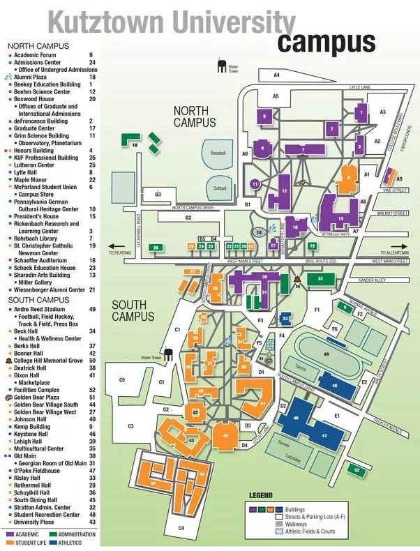 Kutztown University Campus Map | World Map Gray on