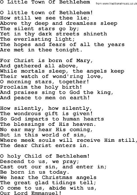 Little Town Of Bethlehem Lyrics