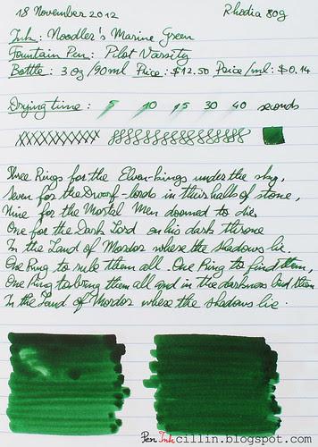 Noodler's Green Marine on Rhodia