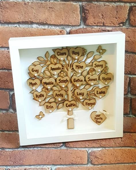 Unique handmade family tree frame, Mothers day gift