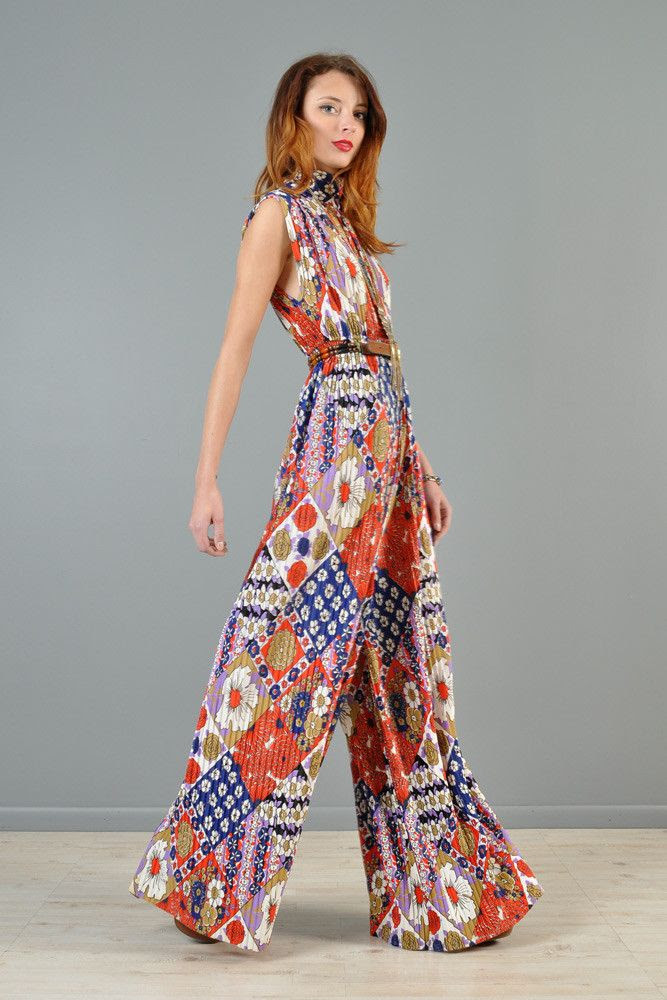 1960s Pleated Palazzo Leg Floral Jumpsuit | BUSTOWN MODERN