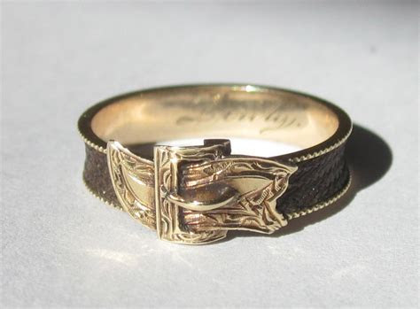 Antique CIVIL WAR Era Buckle and Hair 14K Ring