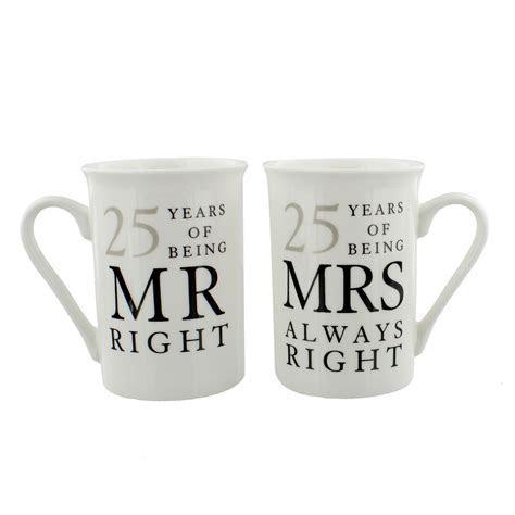 25th Silver Wedding Anniversary Mr & Mrs Mug Gift Set   25