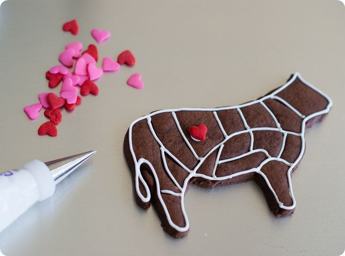 love me tender(loin) decorated cookies ... simple decorating tutorial and link to cookie cutter