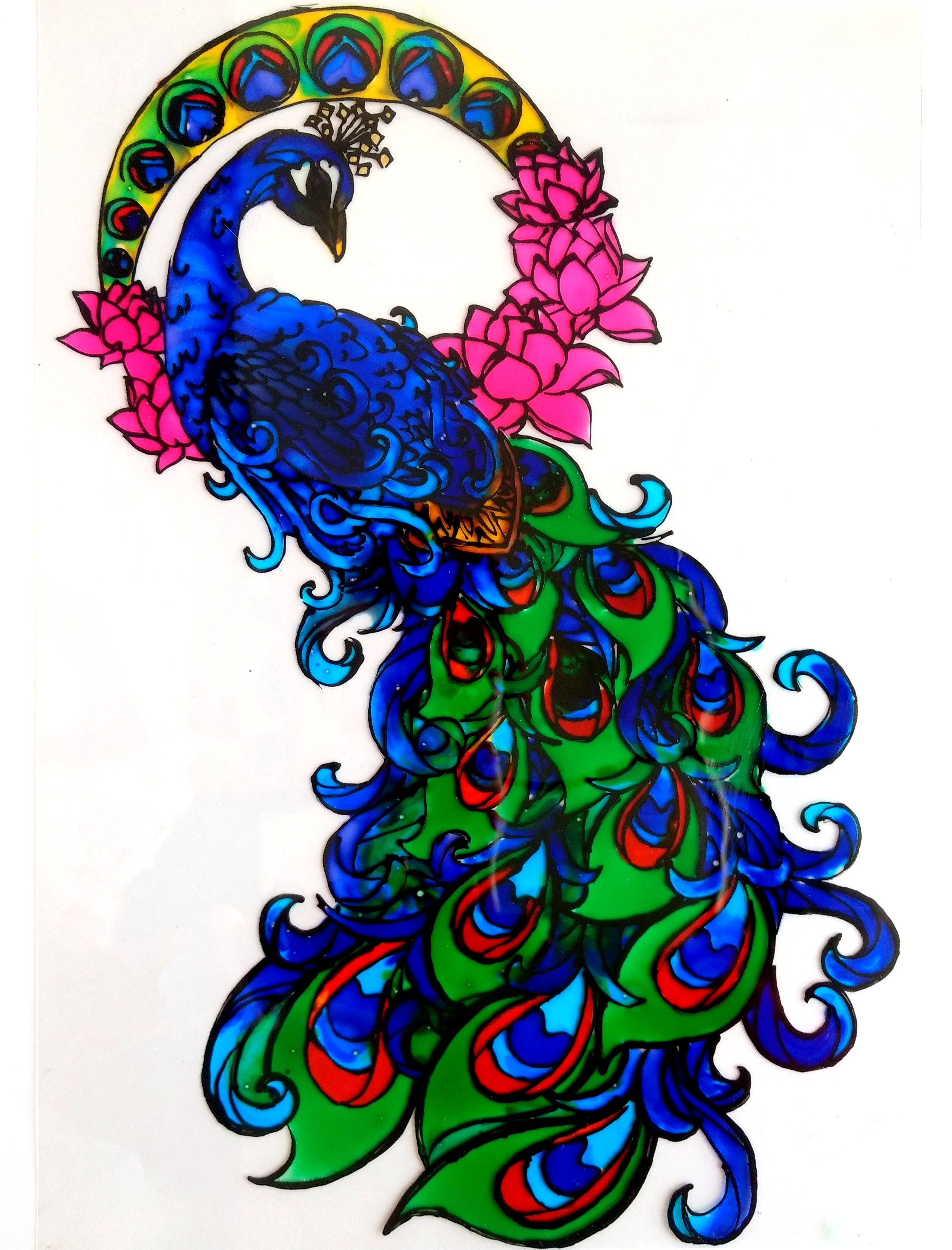Glass Painting Of A Peacock Creative Art