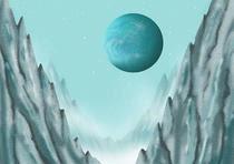 Iceberg, Rocky mountain, Canyon, Arctic cold, Planet, Satellite, Astronomical