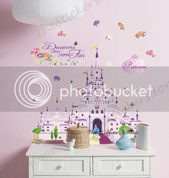 DISNEY PRINCESS CASTLE Wall Stickers Art Decor Girls Bedroom Baby Nursery Decals  eBay