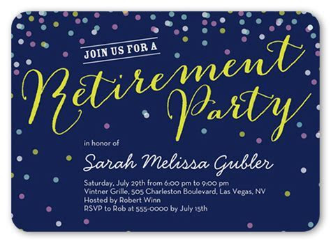 Retirement Confetti Surprise Party Invitations   Shutterfly