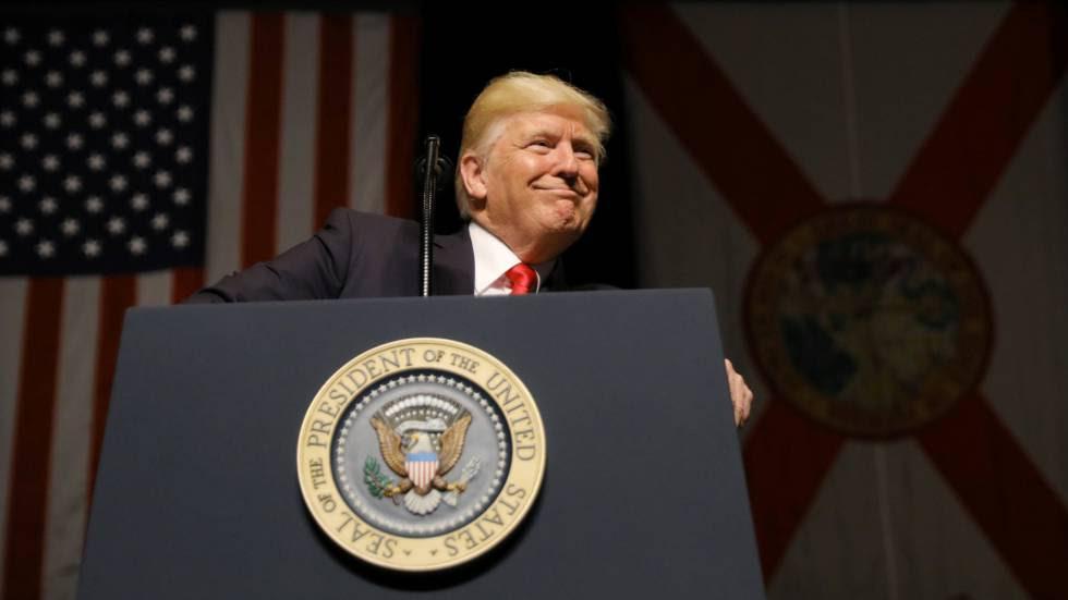 Donald Trump en Florida donde pronunció una conferencia sobre las relaciones entre Estados Unidos y Cuba.