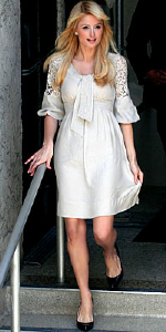 Paris Hilton wearing BCBG on the way to Larry King interview