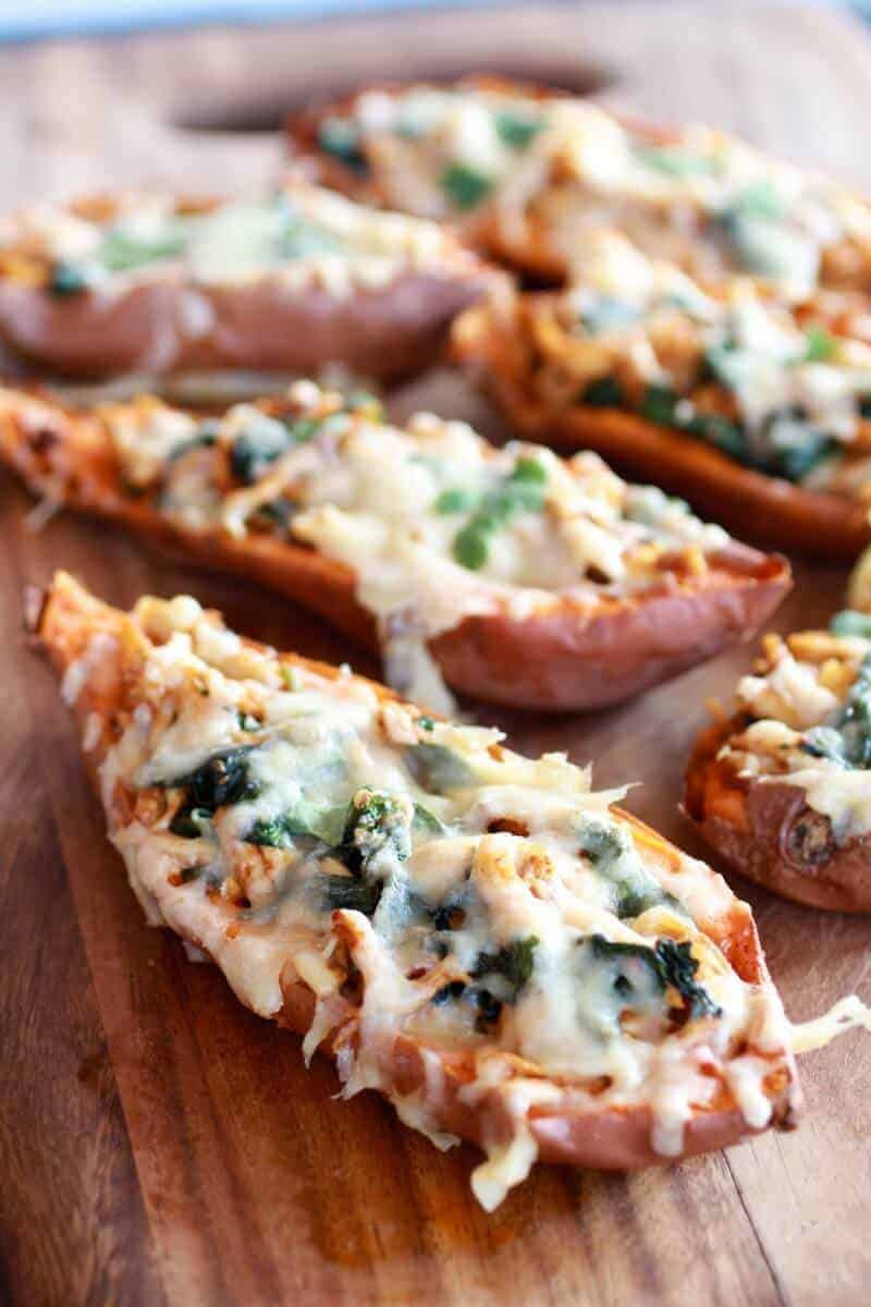 Healthy Chipotle Chicken Sweet Potato Skins #sweetpotatorecipes