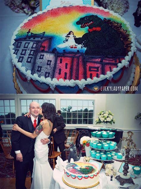 Tattooed bride and Godzilla groom cake!   Lewd, Screwed