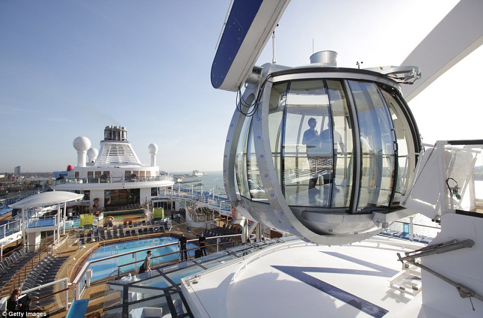 Jewel in the crown: North Star, a London Eye-style pod on the top deck lifting passengers 300ft above sea level, offering thrilling views