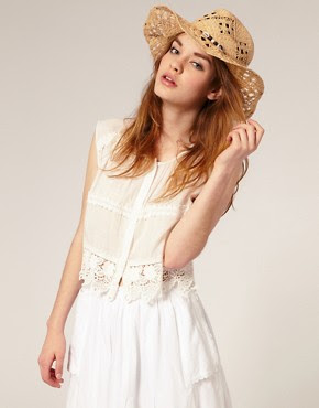Image 1 of ASOS Open Weave Shell And Beaded Trim Straw Cowboy Hat