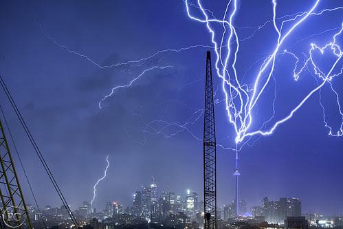 Multiple Strikes of lightning Hitting the CN Tower
