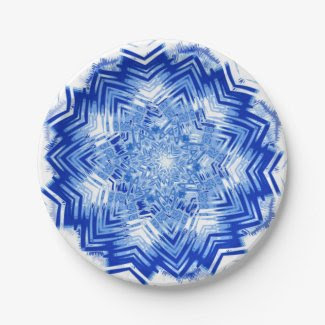 Blue Mandala Design on Paper Plates