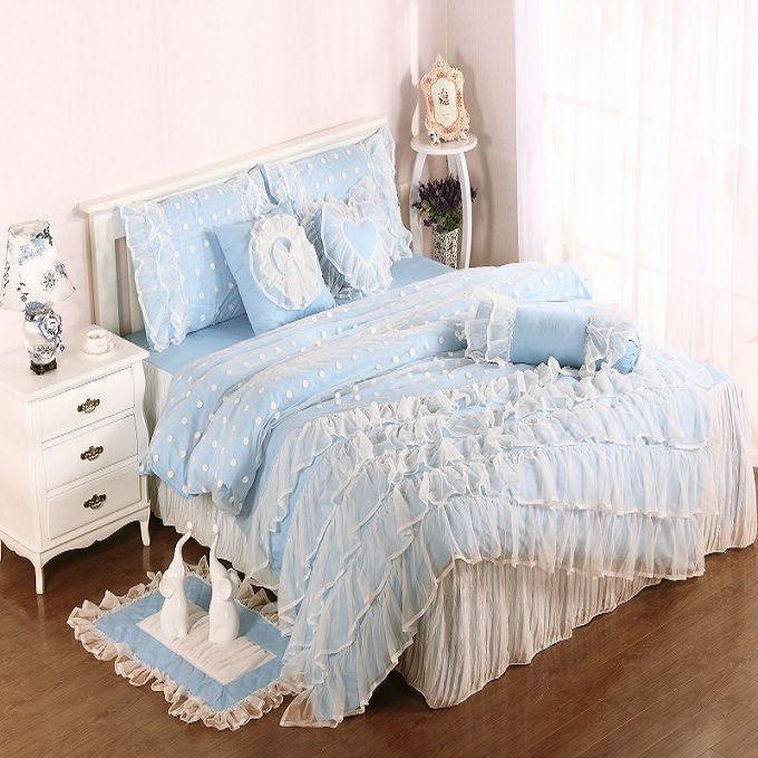 Light Blue Cotton Satin Princess Lace Girl Duvet Cover Bed ...