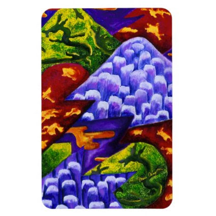 Dragonland, Abstract Green Dragons, Blue Mountains Flexible Magnets